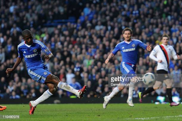 Ramires of Chelsea scores his team's second goal during the Barclays Premier League match between Chelsea and Manchester City at Stamford Bridge on...