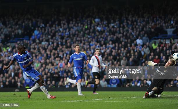 Ramires of Chelsea scores his team's second goal past Joe Hart of Manchester City during the Barclays Premier League match between Chelsea and...
