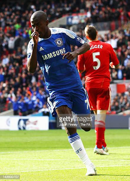 Ramires of Chelsea scores the opening goal during the FA Cup Final with Budweiser between Liverpool and Chelsea at Wembley Stadium on May 5, 2012 in...