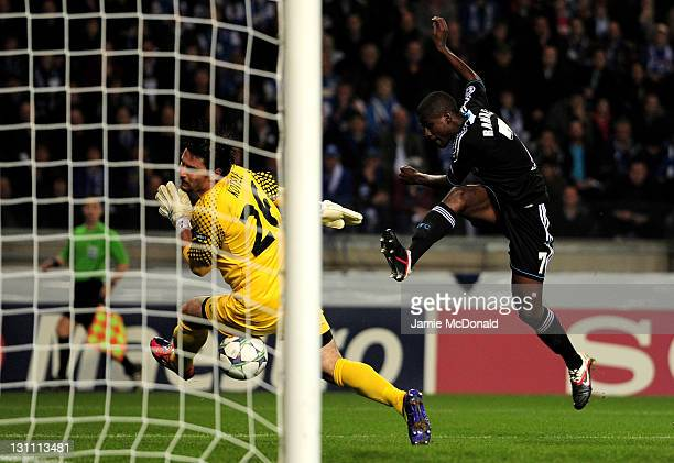 Ramires of Chelsea scores the opening goal during the UEFA Champions League Group E match between KRC Genk and Chelsea at the KRC Genk Arena on...