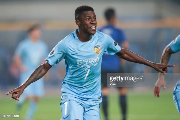 Ramires of Jiangsu Suning celebrates a goal during the AFC Champions League Group H match between Gamba Osaka and Jiangsu Suning at Nanjing Olympic...