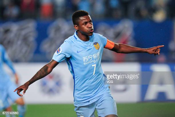 Ramires of Jiangsu Suning celebrates after a goal during 2017 AFC Champions League group match between Jiangsu Suning FC and Jeju United FC at...