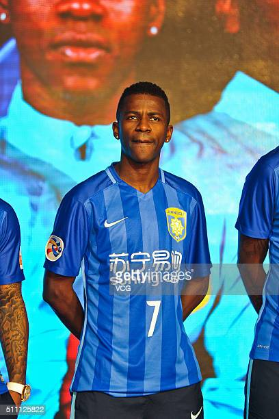 Ramires of Jiangsu Suning FC attends the mobilization meeting for the AFC Champions League 2016 on February 18 2016 in Nanjing China