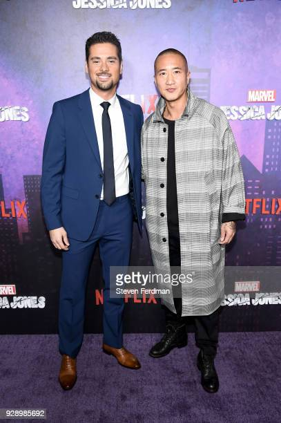 R Ramirez and Terry Chen attend Jessica Jones Season 2 New York Premiere at AMC Loews Lincoln Square on March 7 2018 in New York City