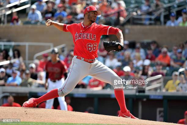 Ramirez of the Los Angeles Angels delivers a pitch in the third inning of the spring training game against the Arizona Diamondbacks at Salt River...