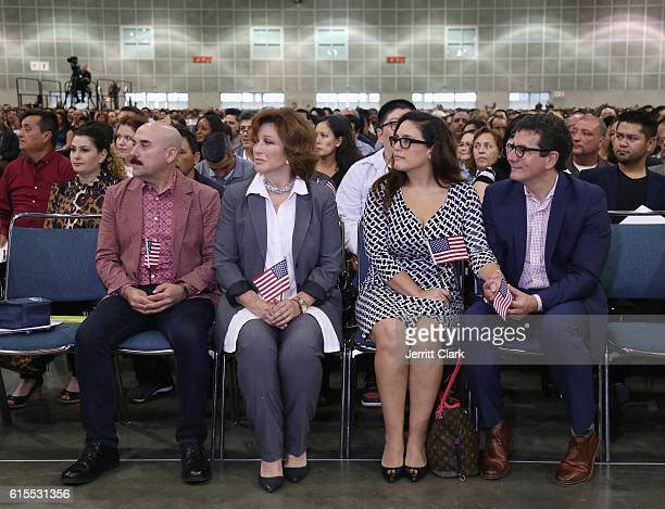 Ramiro Arvizu Angelica Maria Angelica Vale and Otto Padrón attend Angelica Vale Citizenship Ceremony at Los Angeles Convention Center on October 18...