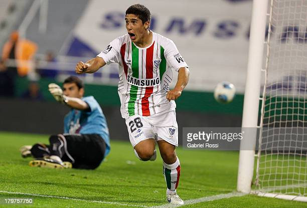 Ramiro Caseres of Velez Sarsfield celebrates a goal during a match between Velez Sarsfield and Newell's Old Boys as part of the sixth round of Torneo...