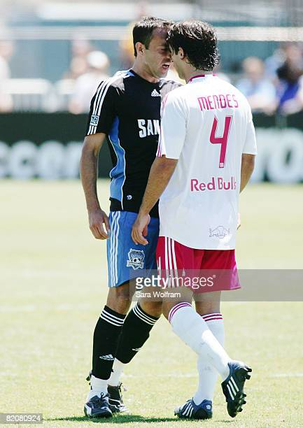 Ramiro Corrales of the San Jose Earthquakes argues with Carlos Mendes of the New York Red Bulls during the MLS game at Buck Shaw Stadium on July 27,...
