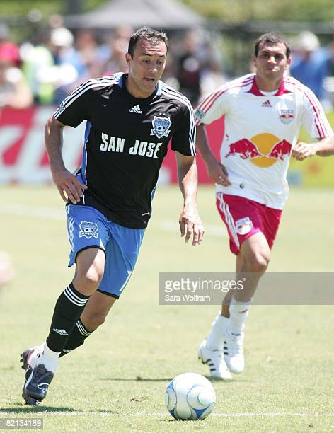 Ramiro Corrales of the San Jose Earthquakes controls the ball against the New York Red Bulls during the MLS game at Buck Shaw Stadium on July 27,...