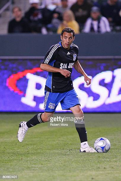Ramiro Corrales of the San Jose Earthquakes dribbles the ball during the MLS soccer match against the Los Angeles Galaxy at Home Depot Center on...