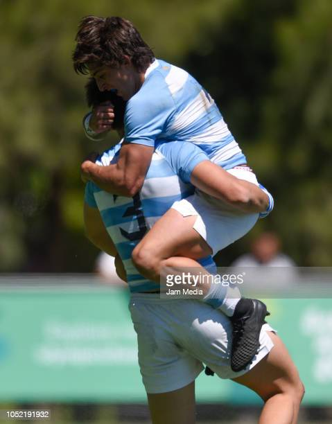 Ramiro Costa and Matteo Graziano of Argentina celebrate after a Rugby Sevens match between United States and Argentina on day 9 of Buenos Aires 2018...