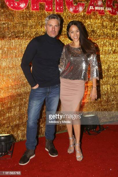 Ramiro Fumazoni and Jessica Mas poses for photos during ''Chicago' Red Carpet at Teatro Telcel October 16 2019 in Mexico City Mexico