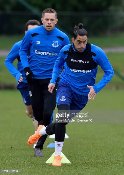 Ramiro Funes Mori and Gylfi Sigurdsson during the Everton FC training session at USM Finch Farm on February 21 2018 in Halewood England