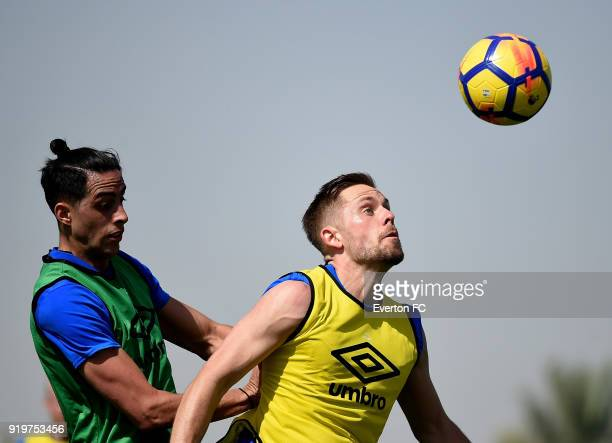 Ramiro Funes Mori and Gylfi Sigurdsson watch the ball during the Everton warm weather training camp at NAS Sports Complex on February 17 2018 in...
