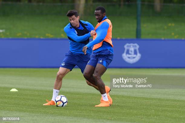 Ramiro Funes Mori and Yannick Bolasie during the Everton FC training session at USM Finch Farm on May 11 2018 in Halewood England