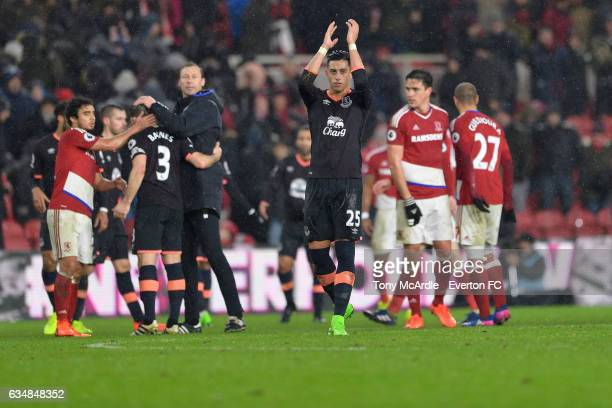 Ramiro Funes Mori applauds the fans during the Premier League match between Middlesbrough and Everton at the Riverside Stadium on February 11 2017 in...