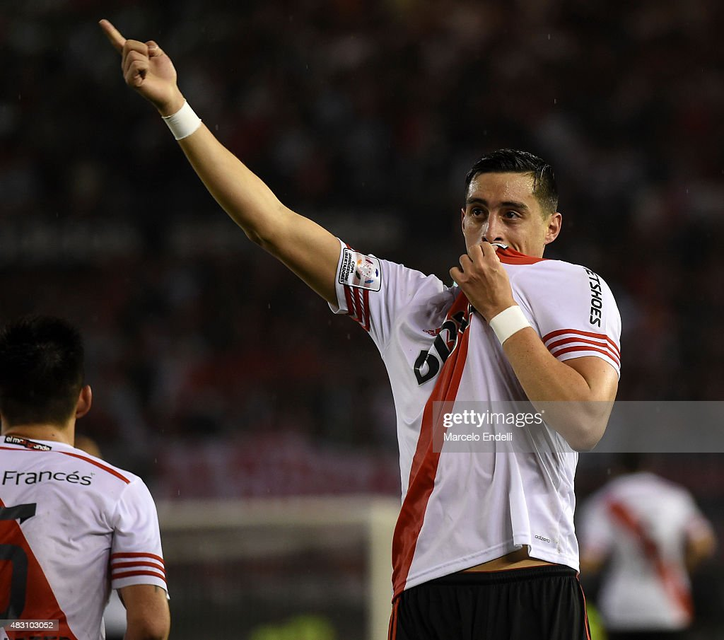 Ramiro Funes Mori celebrates after scoring the third goal of his team during a second leg final match between River Plate and Tigres UANL as part of Copa Bridgestone Libertadores 2015 at Antonio Vespucio Liberti Stadium on August 05, 2015 in Buenos Aires, Argentina.