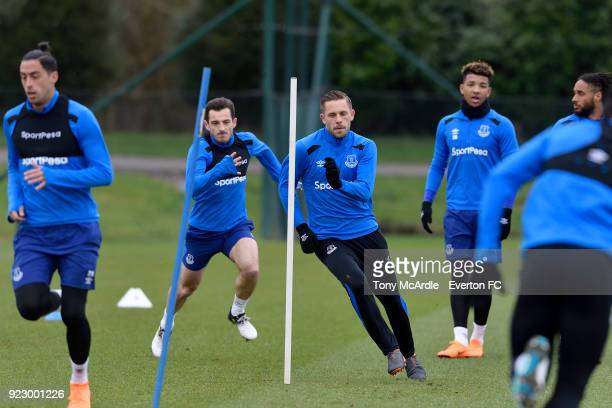 Ramiro Funes Mori Leighton Baines and Gylfi Sigurdsson during the Everton FC training session at USM Finch Farm on February 21 2018 in Halewood...