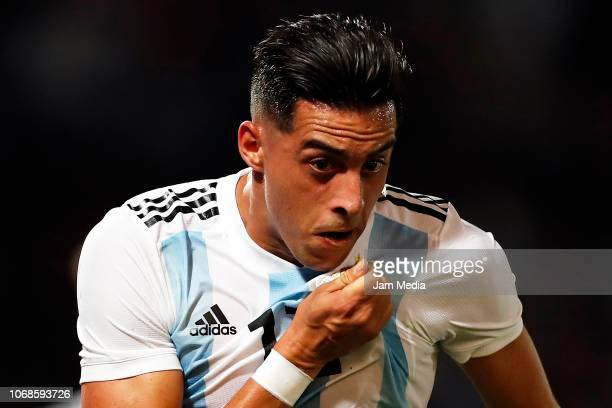 Ramiro Funes Mori of Argentina celebrates after scoring his team's first goal during a friendly match between Argentina and Mexico at Mario Kempes...