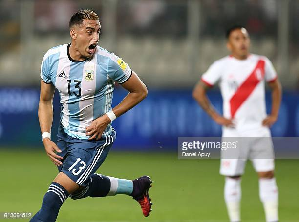Ramiro Funes Mori of Argentina celebrates after scoring the first goal during a match between Peru and Argentina as part of FIFA 2018 World Cup...