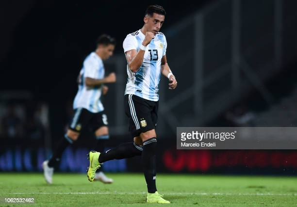 Ramiro Funes Mori of Argentina celebrates after scoring the first goal of his team during a friendly match between Argentina and Mexico at Mario...