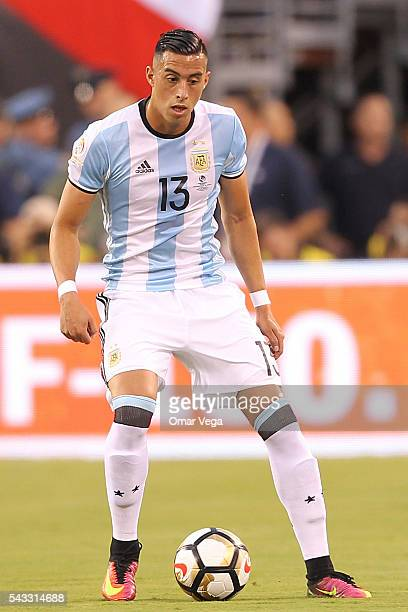 Ramiro Funes Mori of Argentina drives the ball during the championship match between Argentina and Chile at MetLife Stadium as part of Copa America...