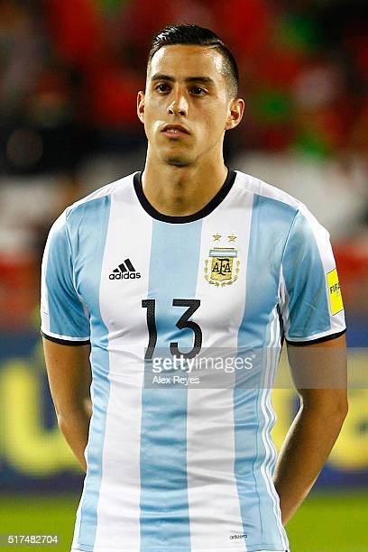 Ramiro Funes Mori of Argentina looks on during the national anthem prior a match between Chile and Argentina as part of FIFA 2018 World Cup...