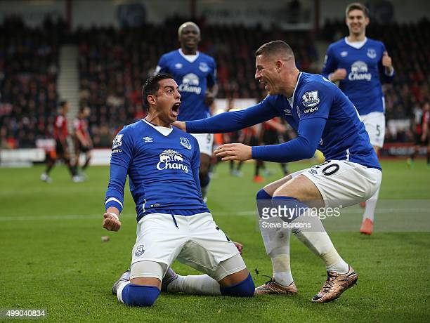 Ramiro Funes Mori of Everton celebrates scoring his team's first goal with his team mate Ross Barkley during the Barclays Premier League match...