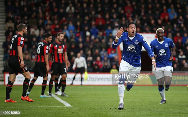 Ramiro Funes Mori of Everton celebrates scoring his team's first goal during the Barclays Premier League match between A.F.C. Bournemouth and Everton...