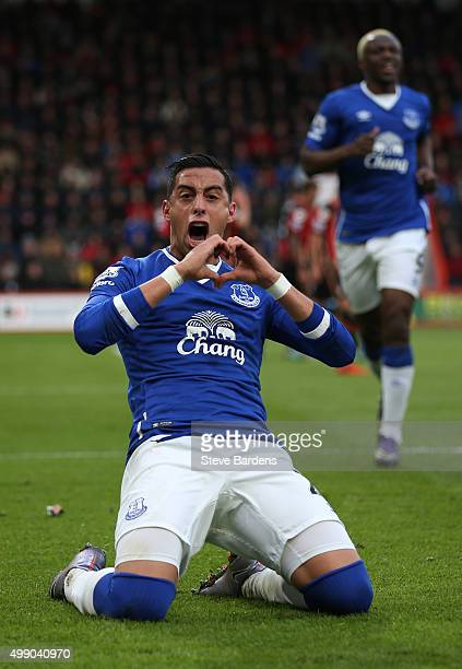 Ramiro Funes Mori of Everton celebrates scoring his team's first goal during the Barclays Premier League match between AFC Bournemouth and Everton at...