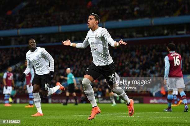 Ramiro Funes Mori of Everton celebrates scoring his team's first goal during the Barclays Premier League match between Aston Villa and Everton at...