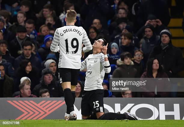 Ramiro Funes Mori of Everton celebrates scoring his team's third goal with his team mate Gerard Deulofeu during the Barclays Premier League match...