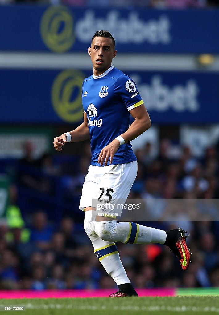 Ramiro Funes Mori of Everton during the Premier League match between Everton and Tottenham Hotspur at Goodison Park on August 13, 2016 in Liverpool, England.