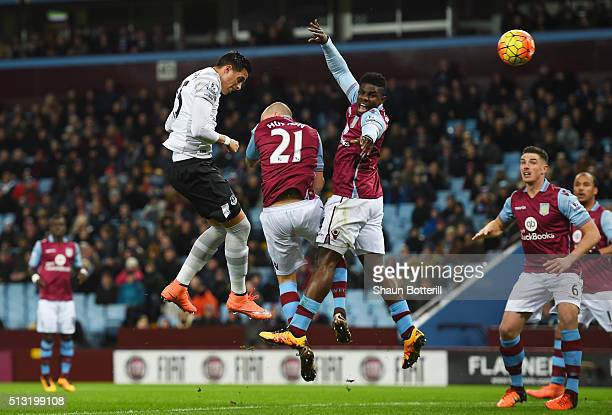 Ramiro Funes Mori of Everton heads the ball to score his team's first goal during the Barclays Premier League match between Aston Villa and Everton...