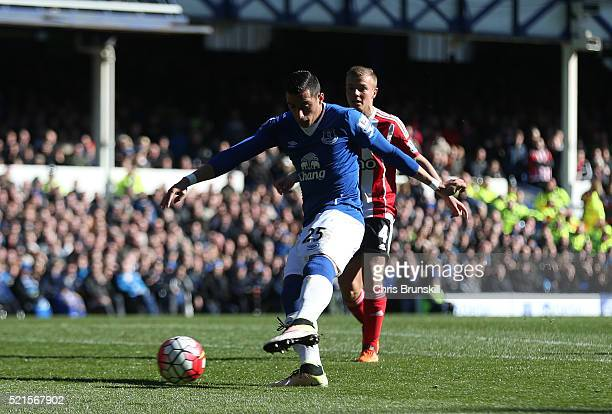 Ramiro Funes Mori of Everton scores his team's opening goal during the Barclays Premier League match between Everton and Southampton at Goodison Park...