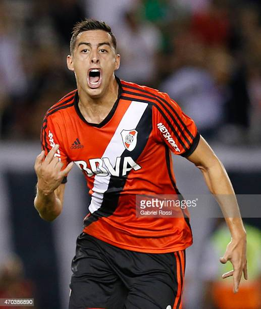 Ramiro Funes Mori of River Plate celebrates after scoring the second goal of his team during a match between River Plate and Banfield as part of 10th...