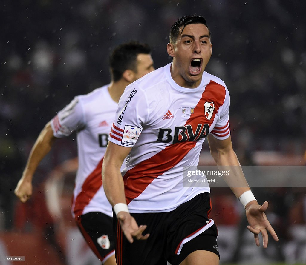 Ramiro Funes Mori of River Plate celebrates after scoring the third goal of his team during a second leg final match between River Plate and Tigres UANL as part of Copa Bridgestone Libertadores 2015 at Antonio Vespucio Liberti Stadium on August 05, 2015 in Buenos Aires, Argentina.