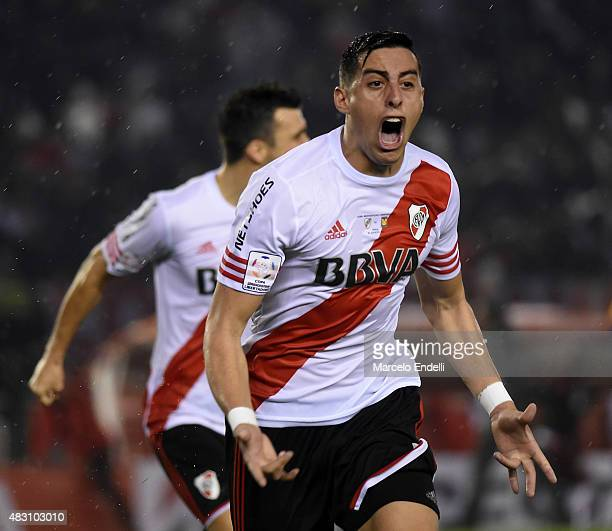 Ramiro Funes Mori of River Plate celebrates after scoring the third goal of his team during a second leg final match between River Plate and Tigres...