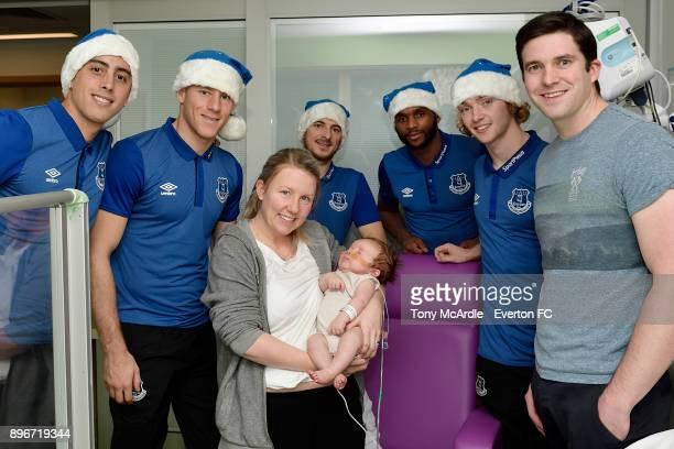 Ramiro Funes Mori Ross Barkley Leighton Baines Cuco Martina and Tom Davies during the visit of Everton players Christmas visit to Alder Hey Childrens...