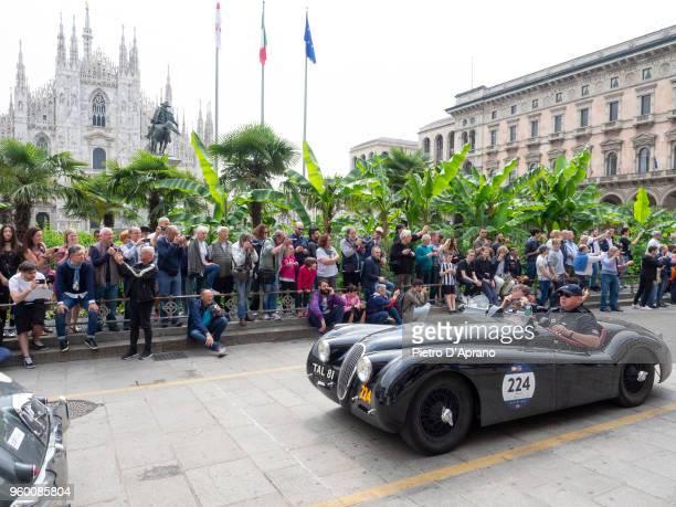 Ramiro Garza and Carlo Barel Di Sant'albano on a Jaguar XK 120 OTS on 1000 Miles Historic Road Race May 19 2018 in Milan Italy