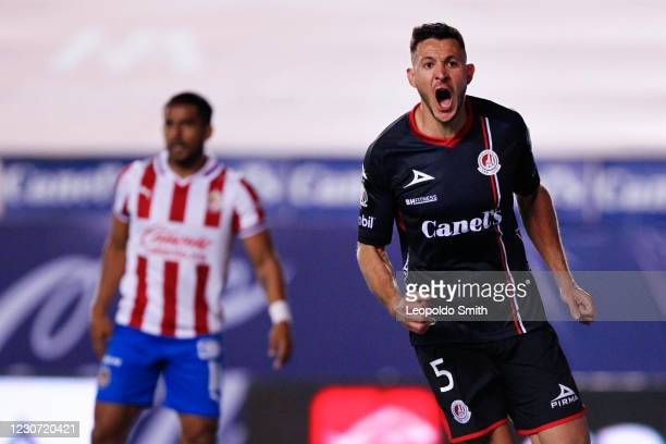 Ramiro Gonzalez of Atletico San Luis celebrates after scoring the first goal of his team during the 3rd round match between Atletico San Luis and...