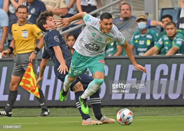 Ramiro Gonzalez of León controls the ball up field during the first half against Sporting Kansas City of the Leagues Cup quarterfinals match at...