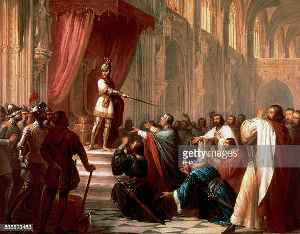 Ramiro II called the Monk King of Aragon from 1134 until 1137 The Bell of Huesca by Spanish painter Antonio Maria Esquivel Oil on Canvas Museum of...