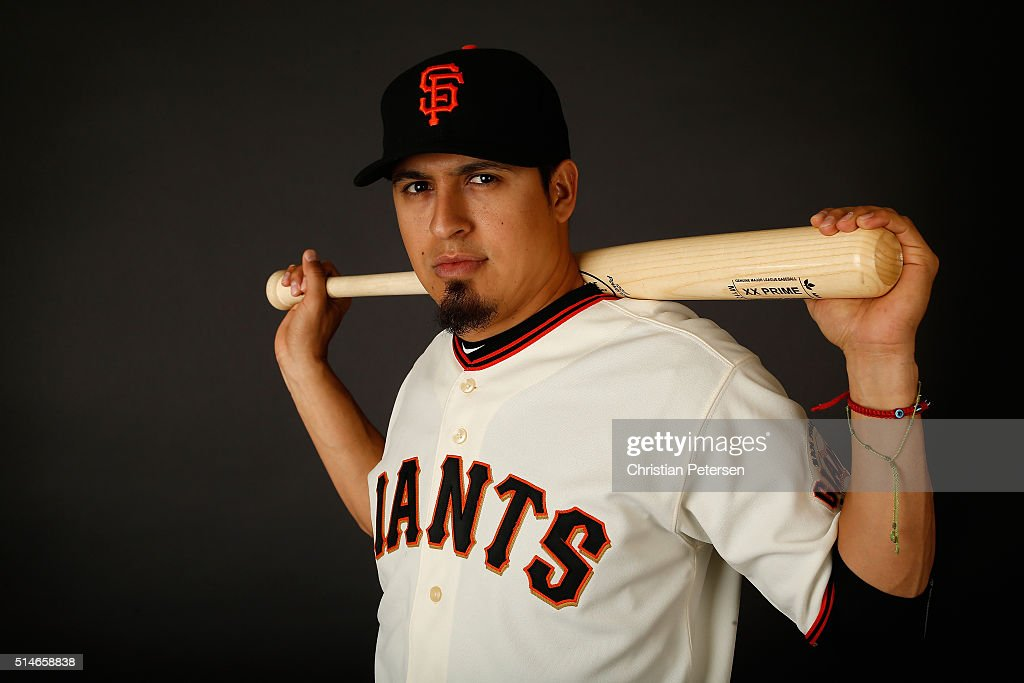 Ramiro Pena #1 of the San Francisco Giants poses for a portrait during spring training photo day at Scottsdale Stadium on February 28, 2016 in Scottsdale, Arizona.