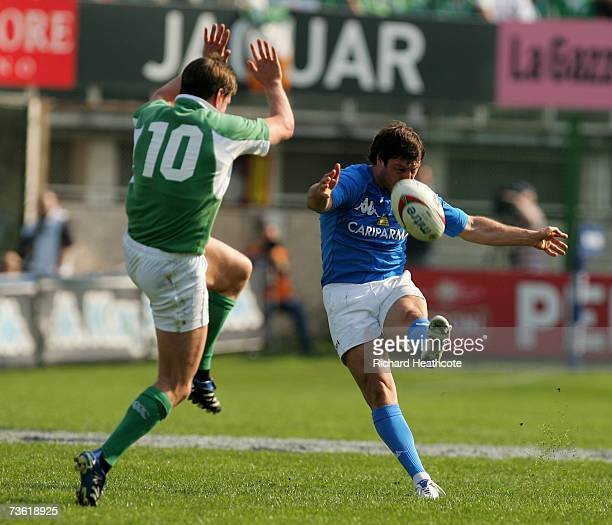 Ramiro Pez of Italy kicks a drop goal past the out stretched Ronan O'Gara of Ireland during the RBS Six Nations match between Italy and Ireland at...