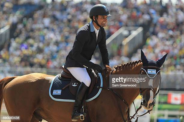 Ramiro Quintana of Argentina rides Appy Cara during the Team Jumping on Day 11 of the Rio 2016 Olympic Games at the Olympic Equestrian Centre on...