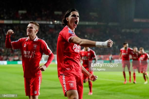 Ramiz Zerrouki of FC Twente celebrates his sides first goal during the Dutch Eredivisie match between FC Twente and AZ at De Grolsch Veste on...