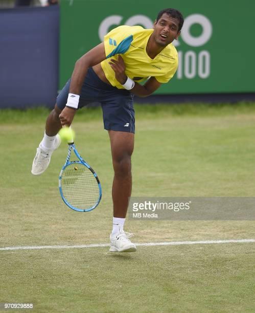Ramkumar Ramanathan on Day Six of the Fuzion 100 Surbiton Trophy at the Surbiton Racket Fitness Club on June 7 2018 in SurbitonEngland