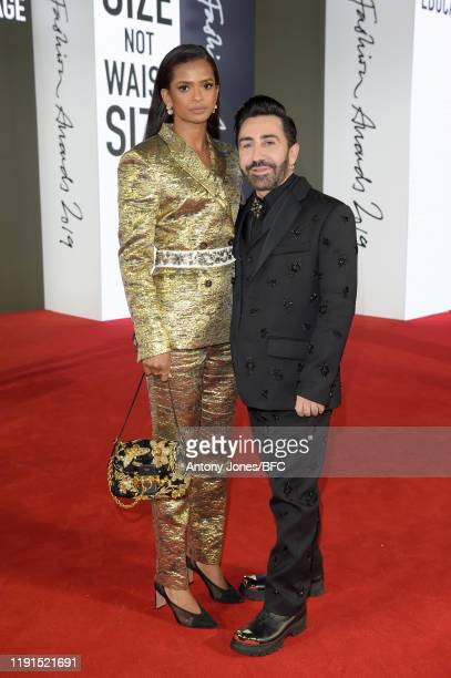 Ramla Ali and Mulberry Creative Director Johnny Coca attend The Fashion Awards 2019 held at Royal Albert Hall on December 02 2019 in London England
