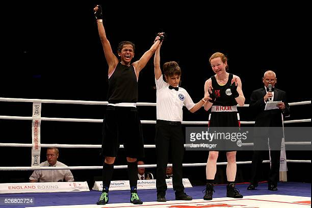 Ramla Ali her win against Rachael Mackenzie in their 54kg final bout during day three of the Boxing Elite National Championships at Echo Arena on May...